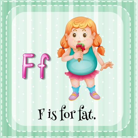letter alphabet pictures: Flashcard letter F is for fat