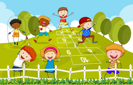 skip: Children playing hopscotch in the park
