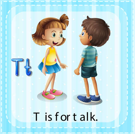 talking: Flashcard of a letter T with a picture of children talking