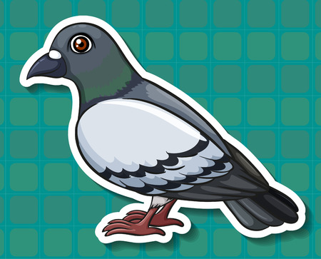 side view: Sticker of a pigeon side view on a blue background
