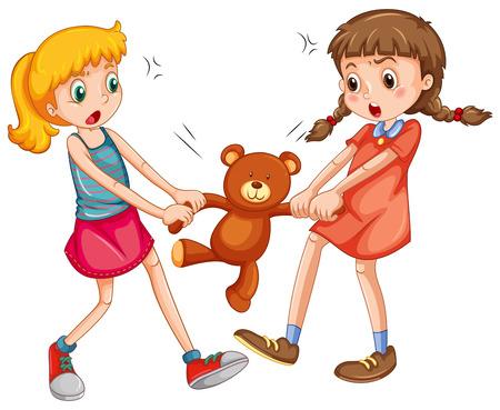 fighting: Dos niñas que luchan por un oso de peluche