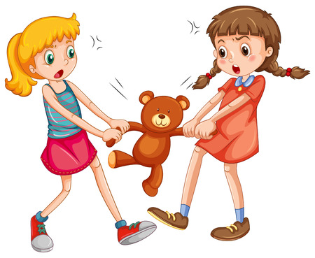 Two girls fighting for a teddy bear