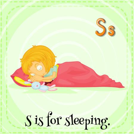 children s: Flashcard letter S is for sleeping