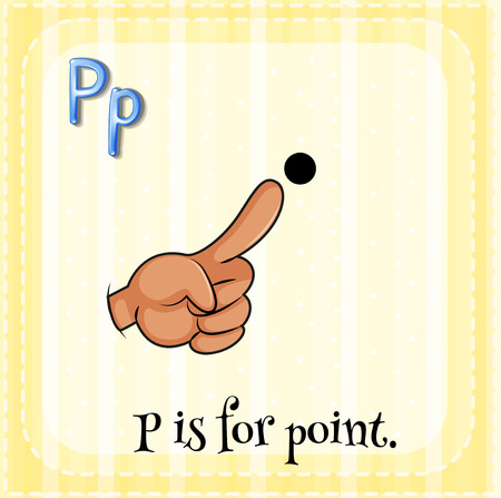 human finger: Flashcard of a letter P with a finger pointing a point