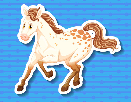 brown horse: Sticker of an elegant white and brown horse Illustration