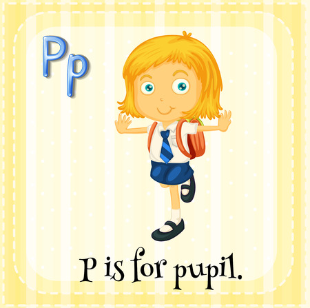english girl: Flashcard of a letter P with a pupil Illustration