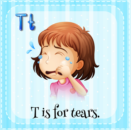 Flashcard letter T is for tears Vector