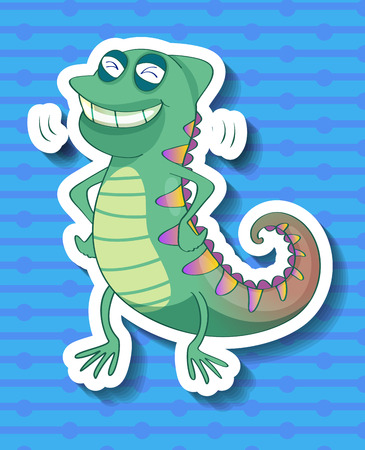 cameleon: Sticker of a colorful cameleon smiling