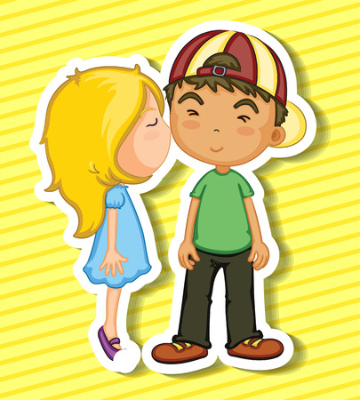 cheek: Sticker of a girl kissing a boy on his cheek