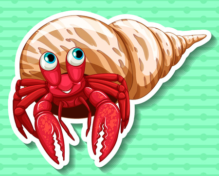 crab: Sticker of a red crab in a shell