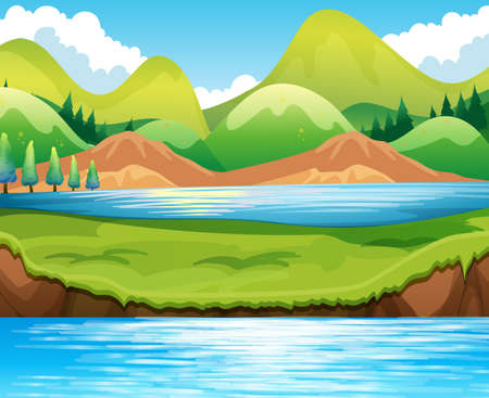 sky and grass: Beautiful scene of lake at daytime Illustration