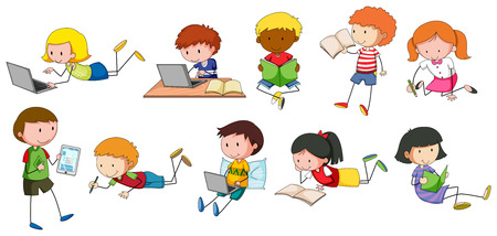 cartoon reading: Children reading and writing in different styles