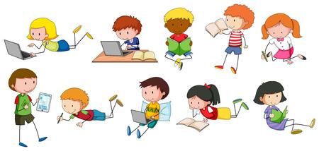Kinderen lezen en schrijven in verschillende stijlen
