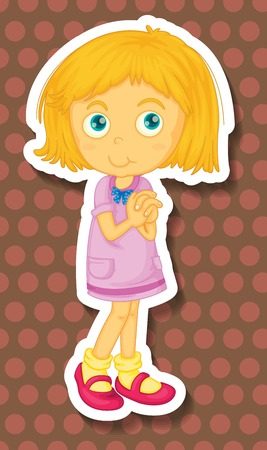 folded hands: Sticker of a girl standing with folded hands