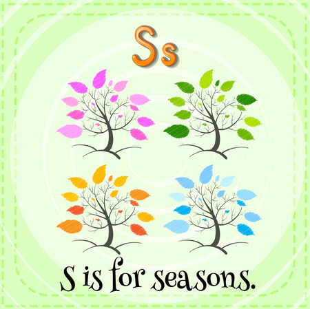 cartoon words: Flashcard of a letter S with pictures of four trees with different color leaves Illustration