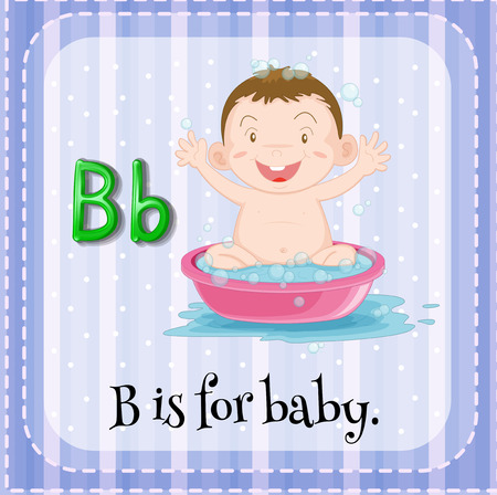 infant bathing: Letter B flashcard with a picture of a baby in bath tub