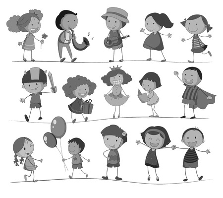 Children doing different activities in black and white Vector