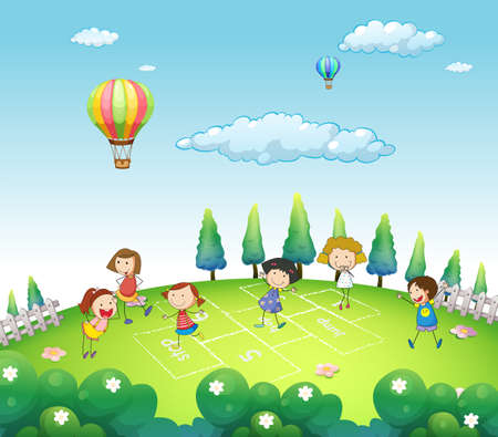 flower clipart: Children playing hop and stop in a park
