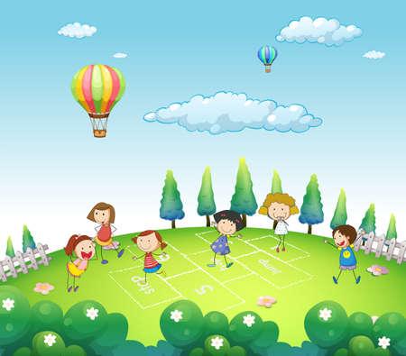 Niños jugando hop y la parada en un parque