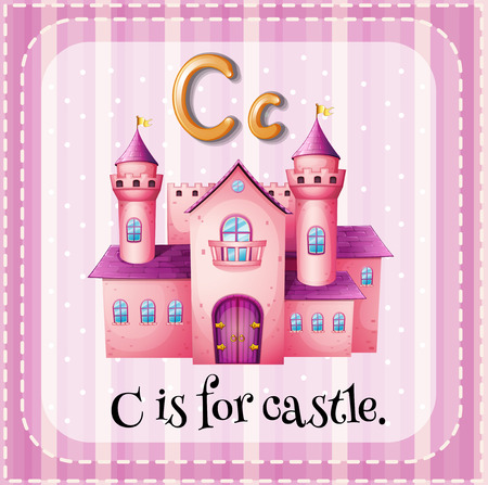 Flashcard of alphabet C with pink castle picture Illustration