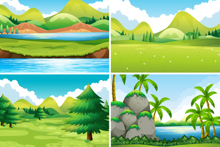 tree leaf: Four different beautiful scenes of nature Illustration