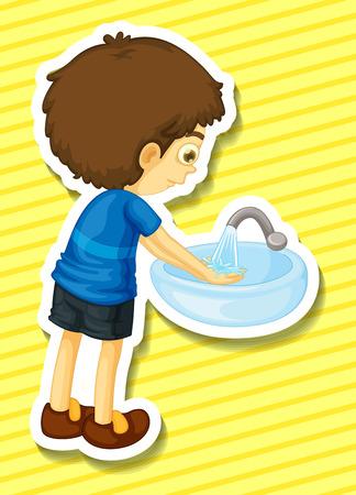 lavandose las manos: Etiqueta de un niño se lava las manos en un fregadero