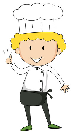 man standing alone: Male chef showing thumb up