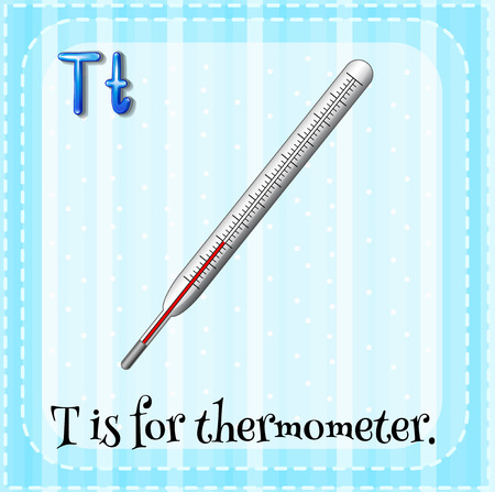 thermometer: Flashcard of a letter T with a thermometer Illustration