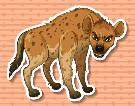 hyena: Sticker of a hyena on a brown background Illustration