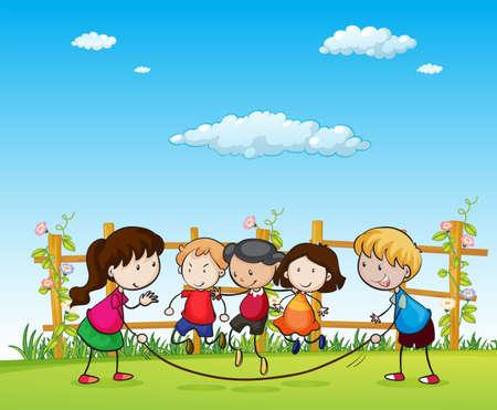 bambini che giocano: Bambini ragazzi e ragazze che giocano nel parco