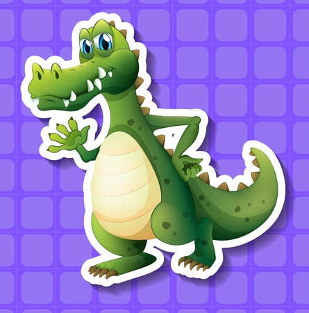 Sticker of a green dinosaur on a purple background Vector