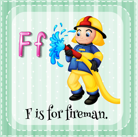 fire fighter: Flashcard letter F is for fireman