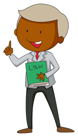 fairness: Happy lawyer holding a law book Illustration