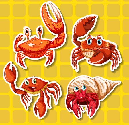 crabs: Stickers of four different crabs on yellow background