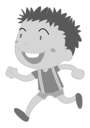 smile close up: Happy boy running in black and white Illustration