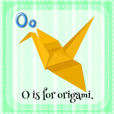 paper folding: Flashcard of a letter O with a picture of an origami