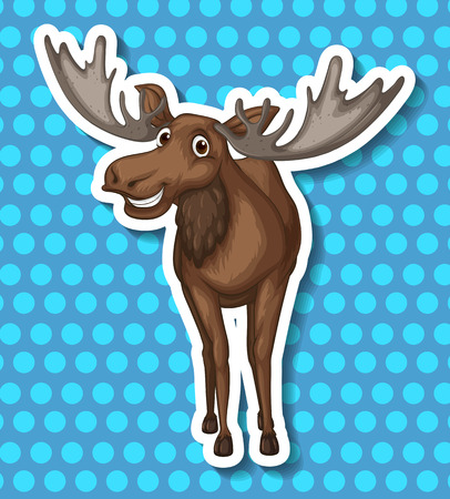 Brown moose smiling with blue background Vector