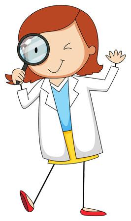 Female scientist using magnifying glass Illustration