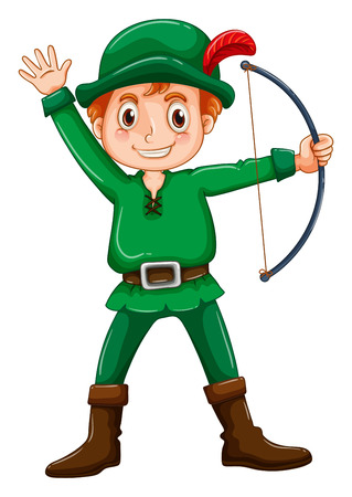 Boy in a robin hood costume on white background Vector