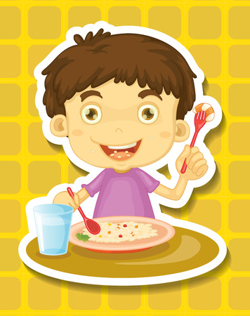 kids eating: Happy boy eating rice from a plate