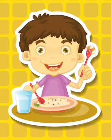 niños desayunando: Muchacho feliz que come el arroz de una placa