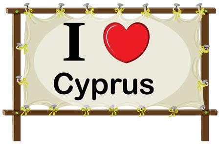 wooden frame: I love Cyprus sign in wooden frame