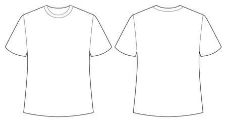 camisas: Manga corta camisa blanca hacia atrás y la vista frontal