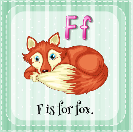 Flashcard of a letter F is a picture of a fox