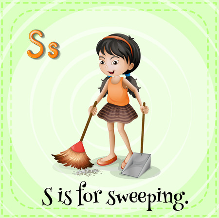 sweeping: Flashcard of a letter S with a picture of a girl sweeping the floor