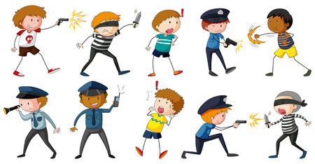 police cartoon: Robbers and police in different positions