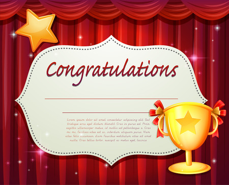 certificate background: Certificate with red curtain and trophy Illustration