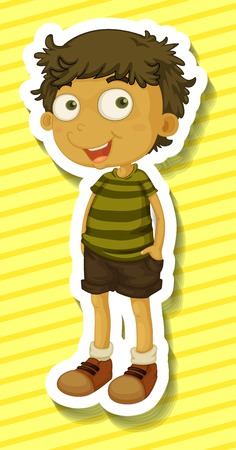standing alone: Happy boy standing alone on yellow background