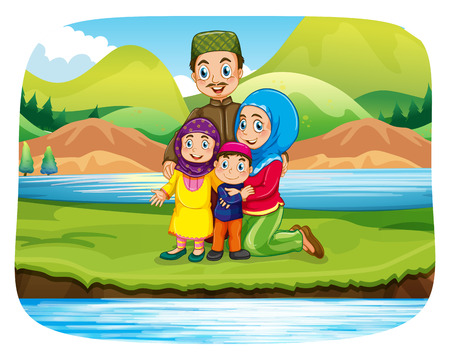river bank: Muslim family by the river bank at daytime Illustration