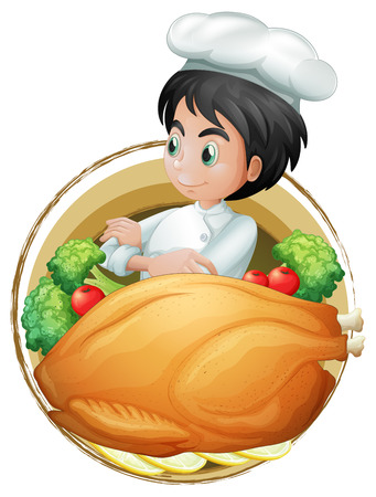 foreground: Male chef with chicken and vegetable foreground